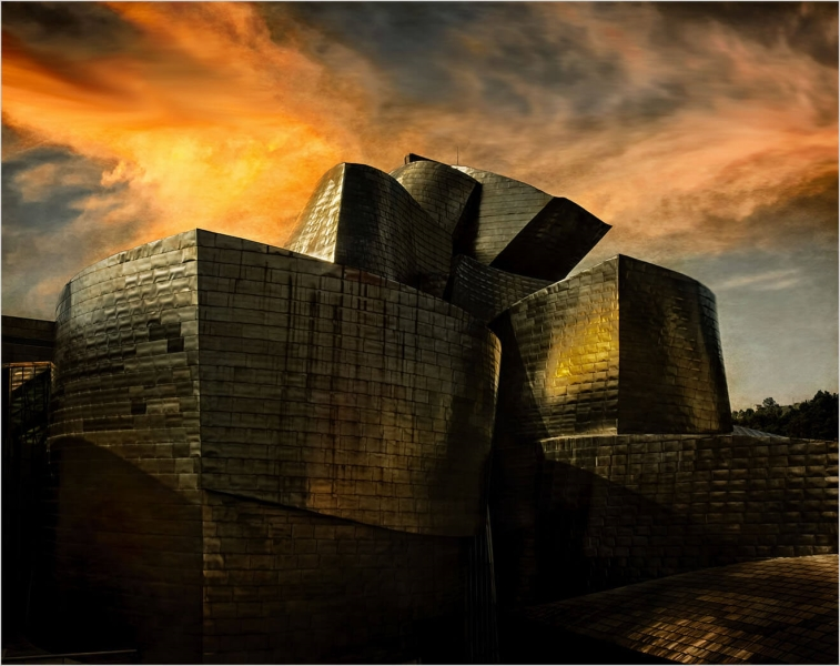 Honour For Guggenheim At Sunset By Clive Hammond