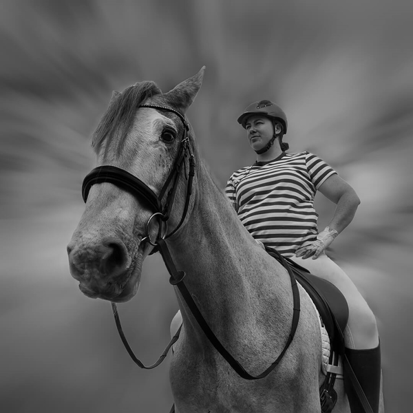 Merit For Horse  The Rider BW 1 By Sam Fernando