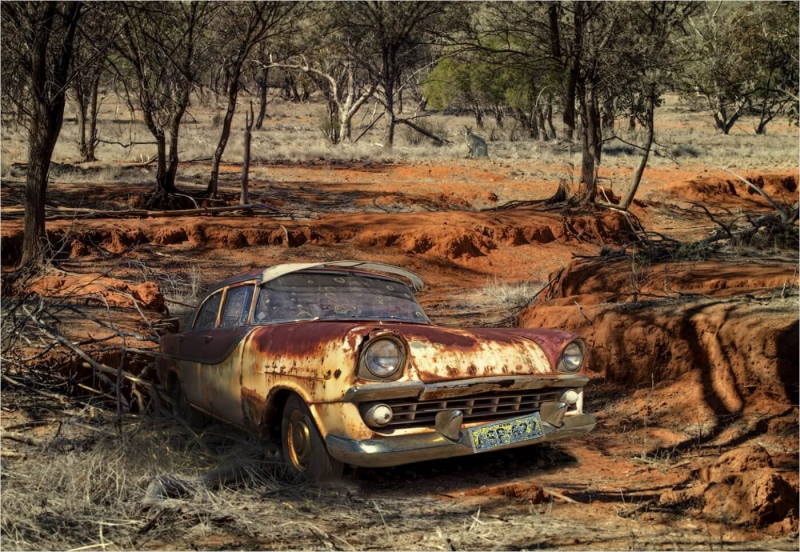 Merit For Old Holden In The Aussie Bush By Clive Hammond