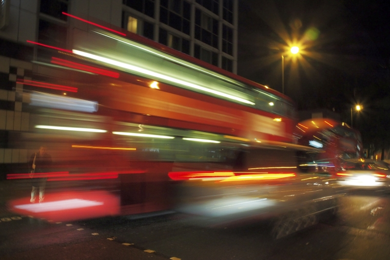 Merit For London Bus At Speed By Warren Veivers