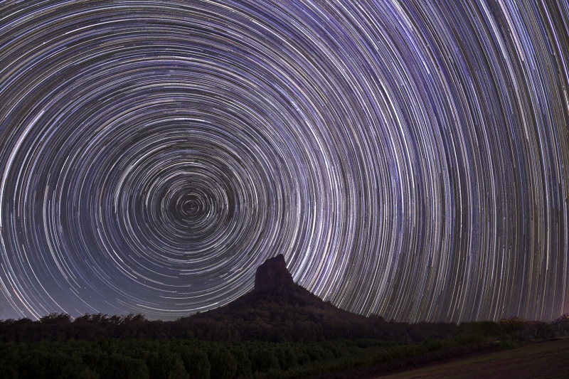 Merit For Startrails Over Mt Coonowrin By Lekha Suraweera